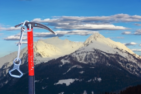 ice axe: old used ice axe for climbing the summit Stock Photo