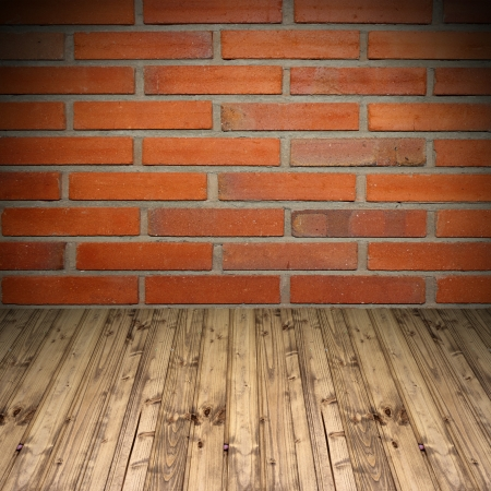 empty background with old brick wall and wooden floor photo