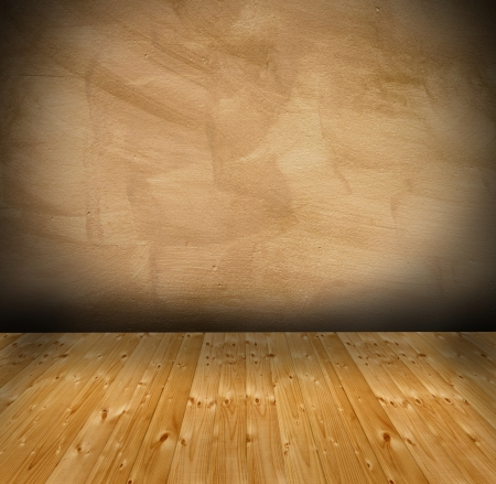 empty architectural background - interior with wooden floor and grungy wall with vignette photo