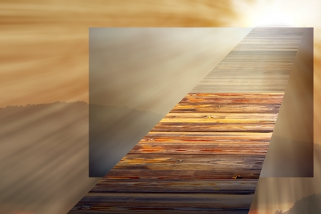 parallel world: concept with wooden bridge going towards the light in the sky , entering a parallel world Stock Photo