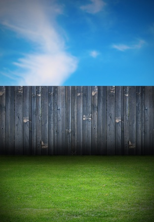 backdrop of backyard with old black wooden fence and green grass photo