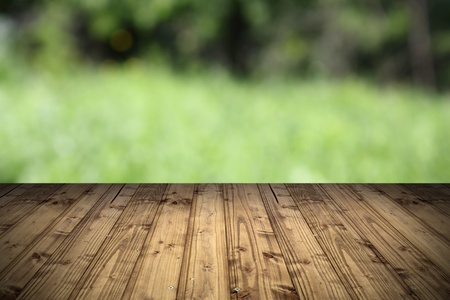 natural backdrop with wooden terrace and view to the park   defocused Stock Photo - 20917689
