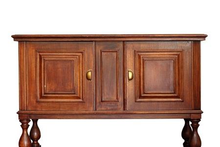 muebles de madera: muy viejo y extraordinario muebles de madera aislada sobre fondo blanco Foto de archivo