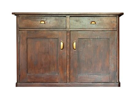 白で分離された非常に古い美しい木製家具