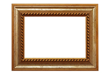 beautiful ancient carved in wood frame isolated over white background photo