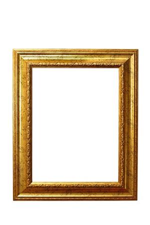 Cerca de la hermosa viejo marco de madera aislada sobre fondo blanco Foto de archivo - 21961363