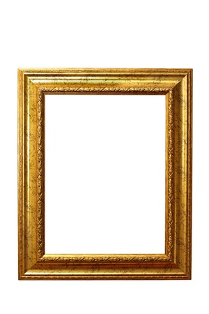 closeup of beautiful old wooden frame isolated over white background Banco de Imagens