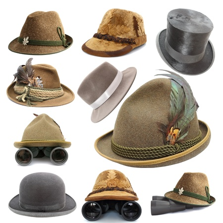 collection of oktoberfest and hunting vintage hats isolated over white background