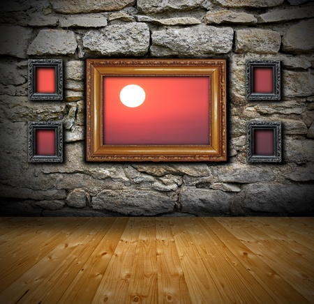 beautiful red sunset seen through frames from grunge interior photo