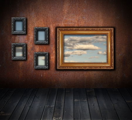 vintage interior backdrop with view to cloudy sky photo