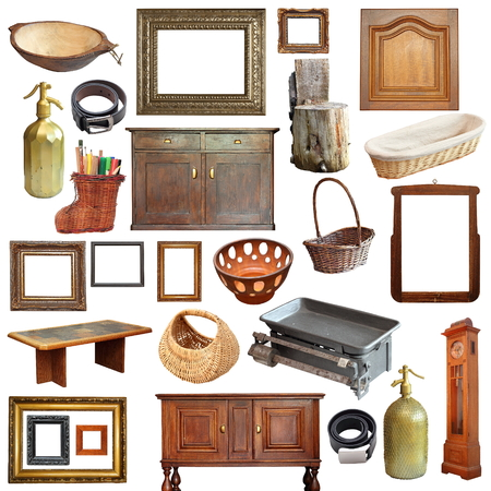collage with a large number of old vintage objects isolated over white background
