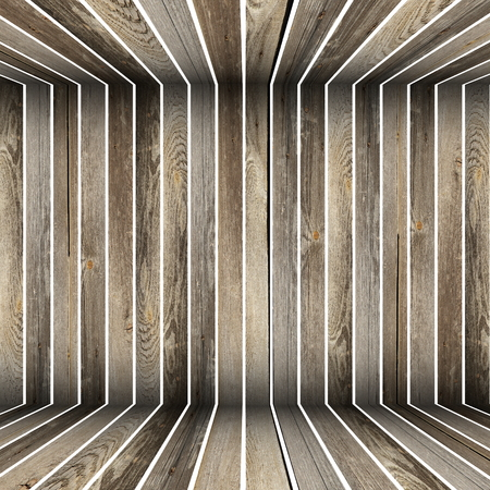 abstract wooden structure formed from old boards photo