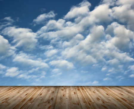 beautiful view of the cloudy sky from wood terrace, backdrop for your design photo