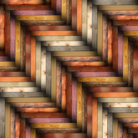 collection of mounted colorful wooden tiles forming parquet design for floor finishing