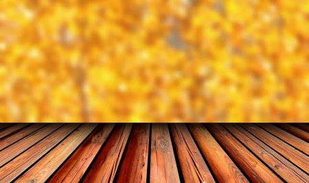 achitectural: old wooden balcony view to autumn golden forest