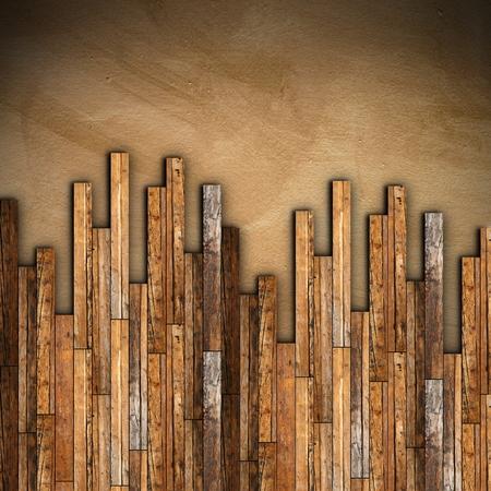 マホガニー木製の寄せ木張りグランジ古い床の取り付け 写真素材