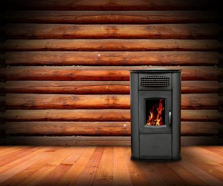 木製仕上げ、ストーブを燃焼とロッジの温かみのあるインテリア