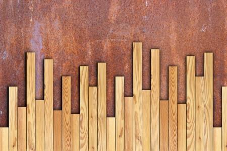 parquet new wooden  floor installation on rusty surface Standard-Bild