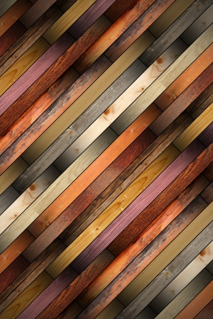 collection of old colorful wooden tiles mounted on the floor photo