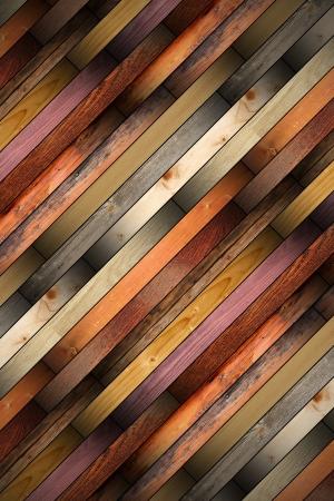 samling av gamla färgglada trä brickor monterade på golvet