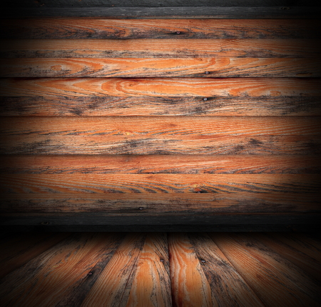 abandoned old wooden interior backdrop of a lodge