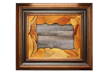 vintage painting wooden frame with natural design backdrop inside photo