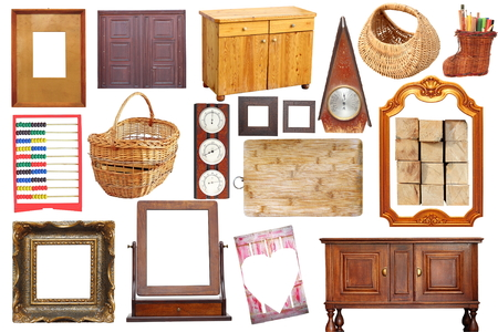 collage with antique wooden  objects isolated over white background photo