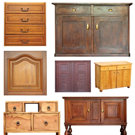 old beautiful wooden furniture isolated object collection Banco de Imagens