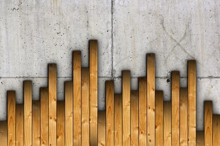 concrete surface finishing: fir boards installation on concrete surface for floor finishing Stock Photo