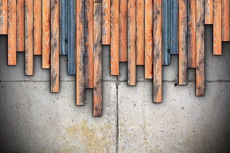 detailed architecture materials on site, grungy planks montage on concrete photo