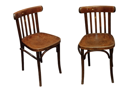 antique furniture: old chair isolated over white background in two different images