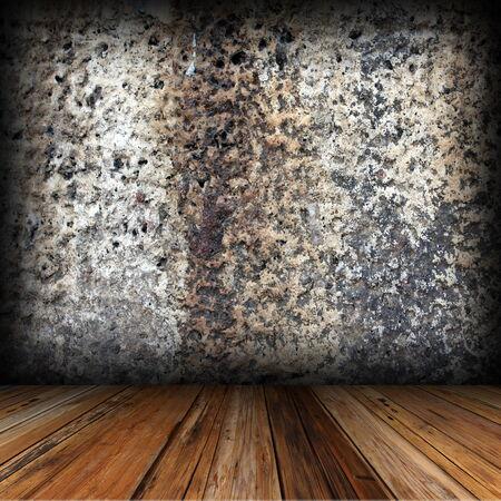 caoba: suelo de caoba y antiguo tel�n de fondo pared desgastada