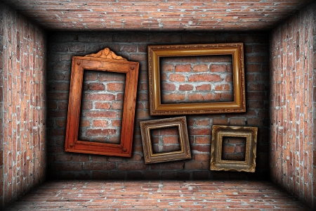 vintage room interior backdrop with ancient empty wood frames ready for your design photo