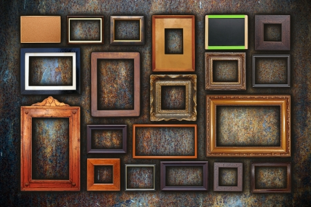 grunge wall full of old wooden frames, illustration