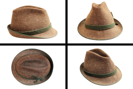 traditional wool hunting hat in four views isolated on white for your design photo