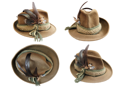traditional hunting hat details in four different views isolated over white for your design 스톡 콘텐츠