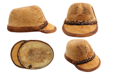 traditional transylvanian hunting hat, made from timber gathered from the woods and boiled, isolation of four views on white photo