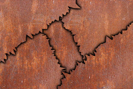 abstract rusty metal pattern, cracked pieces with shadow photo