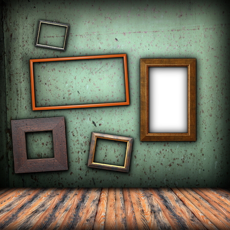 abstract art backdrop with empty old  wooden frames  for your design photo