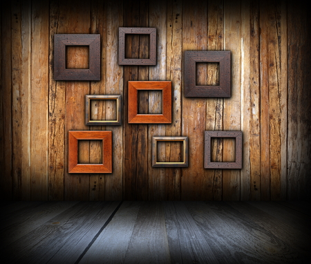 abstract frames on wooden wall, art backdrop for your design photo