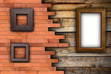 abstract wood backdrop with empty  frames on wall ready for your design or advertising photo