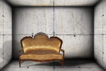 old sofa on empty concrete indoor backdrop, abstract design photo