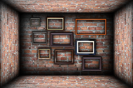 collection of empty wooden frames in abstract empty room backdrop, for your design or advertising photo