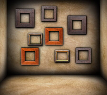wooden frames on grungy wall of empty room, backdrop photo