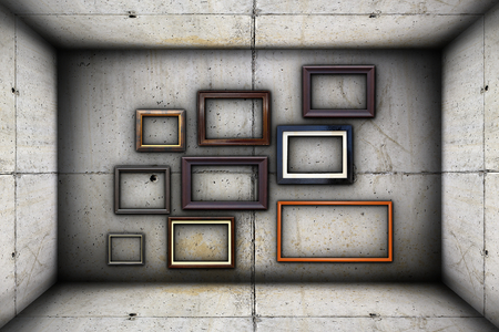 futuristic backdrop with frames on concrete industrial interior backdrop photo