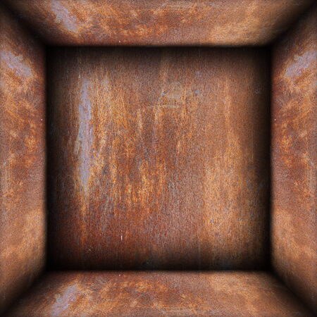 interior of metal rusty box, abstract backdrop photo