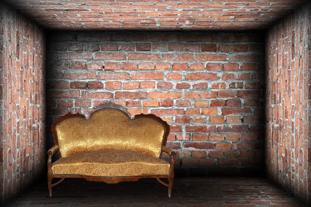 abstract empty backdrop with sofa in brick finished room photo