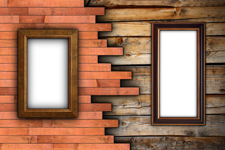 interesting wood wall with painting  frames for your design photo