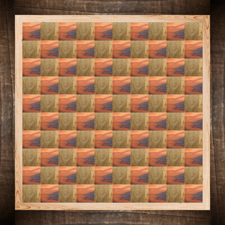 abstract chess game table made from wooden textures photo