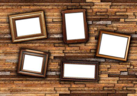backdrop for your message with wooden frames on abstract wall photo